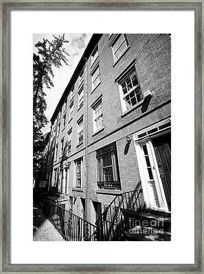 red brick townhouses with basement flats greenwich village New York City USA Framed Print