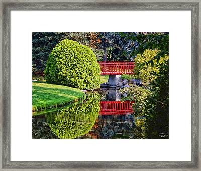 Red Bridge At Dow Gardens Framed Print