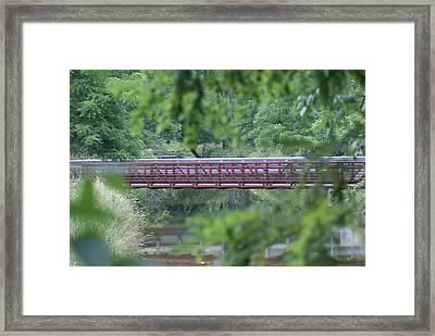 Red Bridge Framed Print by Heather Green
