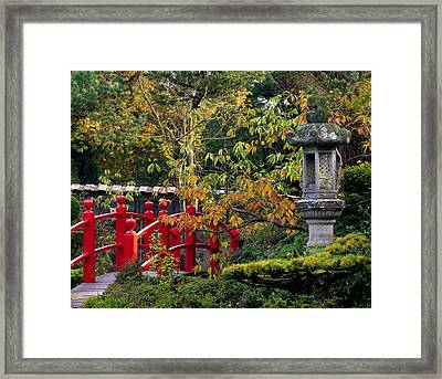 Red Bridge & Japanese Lantern, Autumn Framed Print by The Irish Image Collection