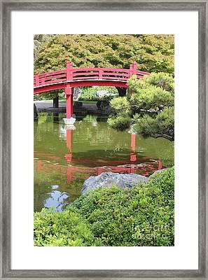 Red Bridge Reflection Framed Print