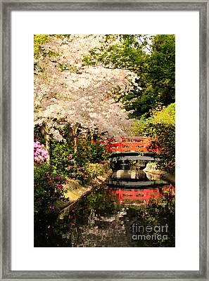 Red Bridge Reflection Framed Print by James Eddy