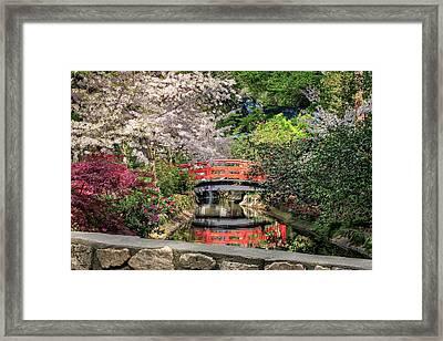 Red Bridge Spring Reflection Framed Print by James Eddy