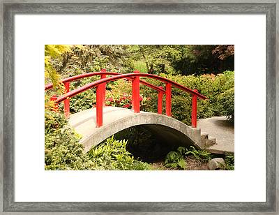 Red Bridge Framed Print by Trudy Parman