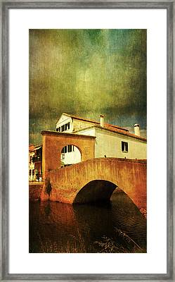 Red Bridge With Storm Cloud Framed Print by Anne Kotan