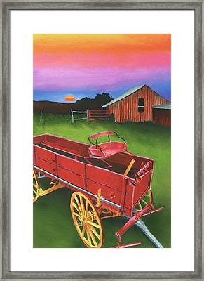 Red Buckboard Wagon Framed Print by Stephen Anderson