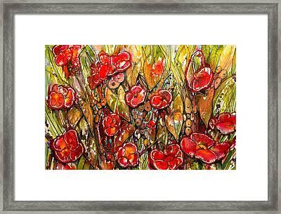 Red Buds Framed Print by Shirley Sykes Bracken