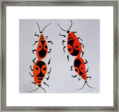 Red Bugs Framed Print by Vitali Komarov