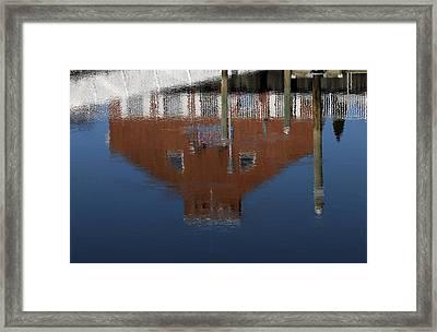 Red Building Reflection Framed Print by Karol Livote