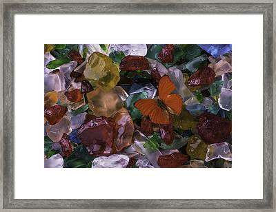 Red Butterfly On Sea Glass Framed Print by Garry Gay