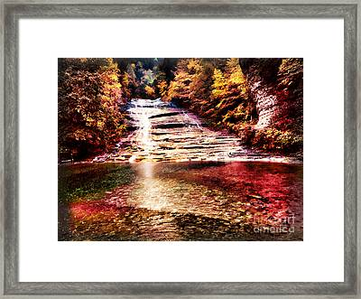 Red Buttermilk Falls New York Autumn Framed Print by Robert Gaines