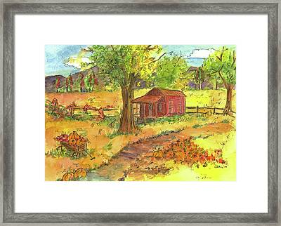 Framed Print featuring the painting Red Cabin In Autumn  by Cathie Richardson