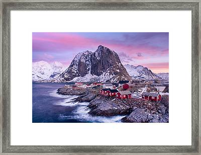 Red Cabins Framed Print by Michael Blanchette