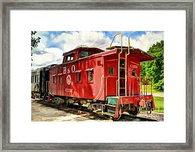 Red Caboose Framed Print by Mel Steinhauer