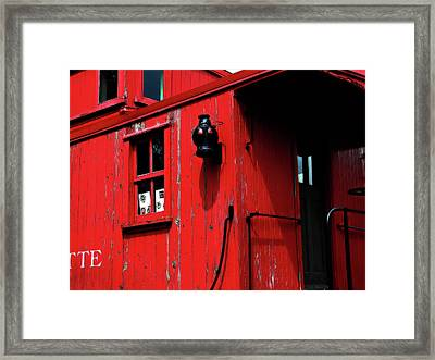 Red Caboose Framed Print by Scott Hovind