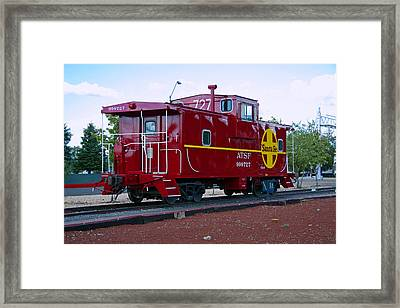 Red Caboose Framed Print by Sharon I Williams