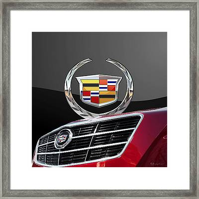 Red Cadillac C T S - Front Grill Ornament And 3d Badge On Black Framed Print by Serge Averbukh