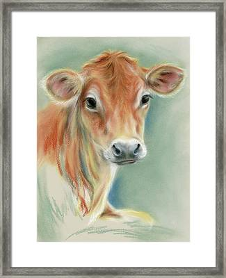 Red Calf Portrait Framed Print by MM Anderson