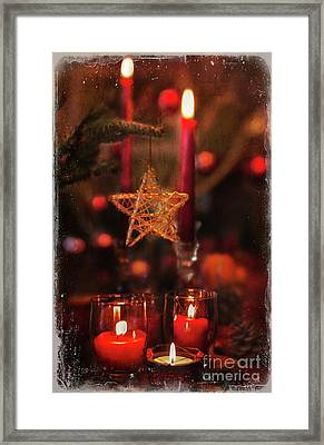 Framed Print featuring the photograph Red Candles  by Elena Nosyreva