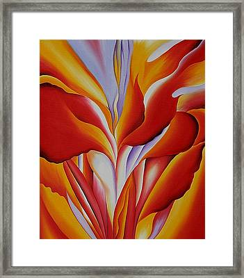 Red Canna Framed Print by Georgia OKeefe