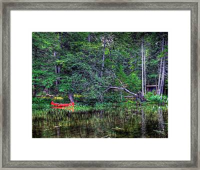 Red Canoe Among The Reeds Framed Print by David Patterson