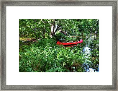 Red Canoe In The Adk Framed Print by David Patterson