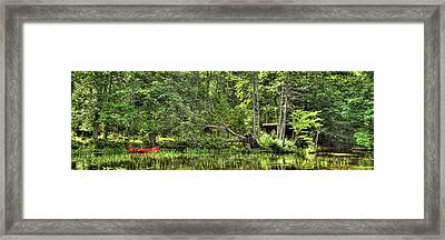 Framed Print featuring the photograph Red Canoe Panorama by David Patterson