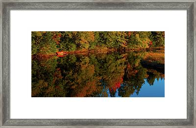 Red Canoe Reflections Framed Print by David Patterson