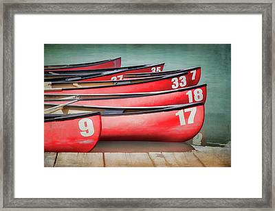 Red Canoes At Lake Louise Framed Print