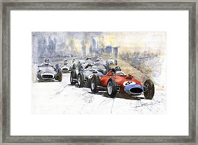 1957 Red Car Ferrari 801 German Gp 1957  Framed Print