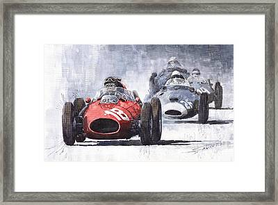 Red Car Ferrari D426 1958 Monza Phill Hill Framed Print