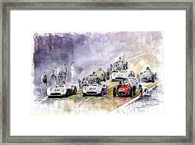 Red Car Maserati 250 France Gp Framed Print