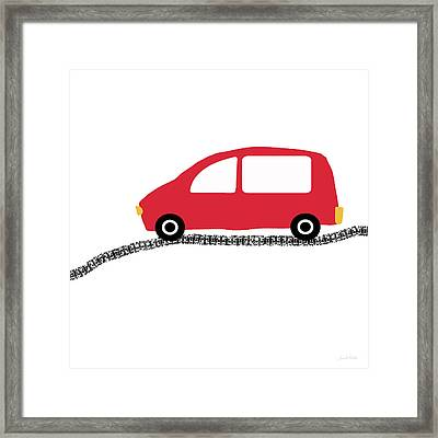 Red Car On Road- Art By Linda Woods Framed Print