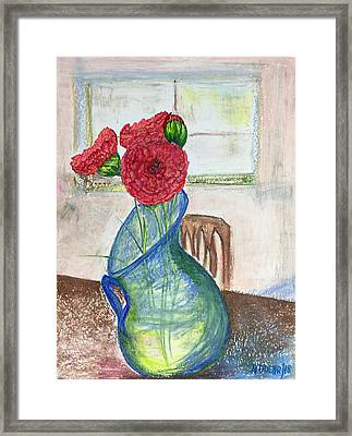 Framed Print featuring the mixed media Red Carnations by Norma Duch