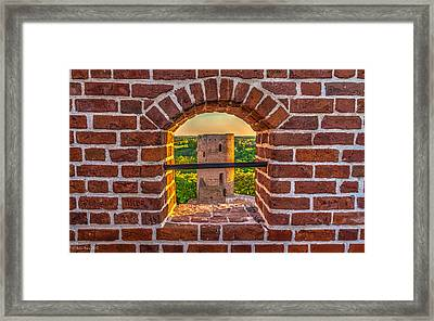 Red Castle Window View Framed Print