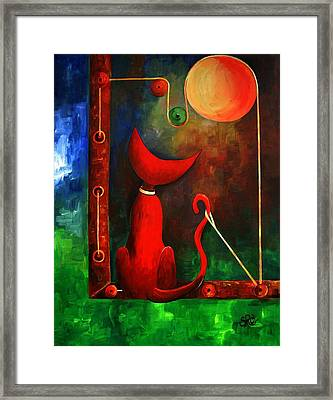 Red Cat Looking At The Moon Framed Print