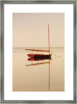Red Catboat On Misty Harbor Framed Print