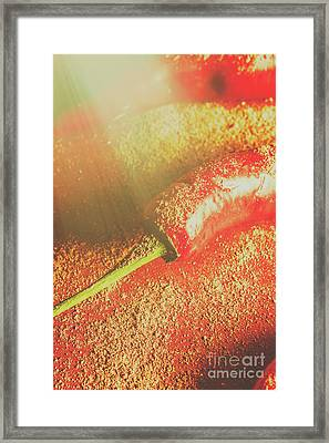 Red Cayenne Pepper In Spicy Seasoning Framed Print by Jorgo Photography - Wall Art Gallery