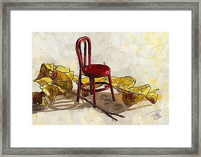Red Chair And Yellow Leaves Framed Print