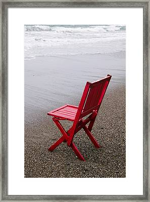 Red Chair On The Beach Framed Print
