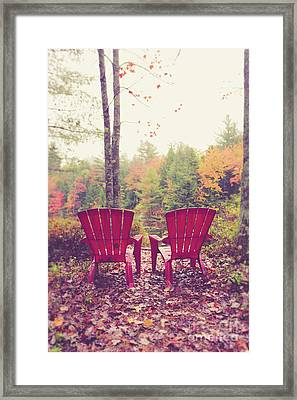 Framed Print featuring the photograph Red Chairs By The Lake by Edward Fielding