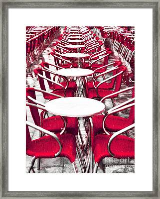 Red Chairs In Venice Framed Print by Mel Steinhauer