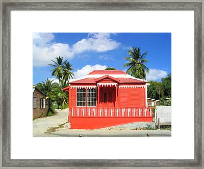 Red Chattel House Framed Print by Barbara Marcus