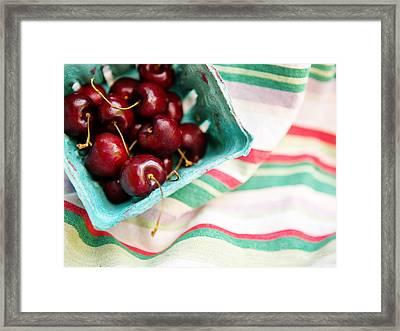 Red Cherries In Basket Framed Print by Rebecca Cozart