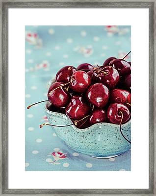 Red Cherries In Blue Ceramic Bowl Framed Print