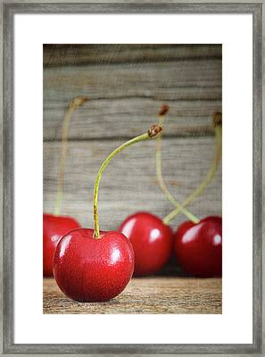 Red Cherries On Barn Wood Framed Print