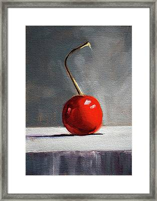 Framed Print featuring the painting Red Cherry by Nancy Merkle