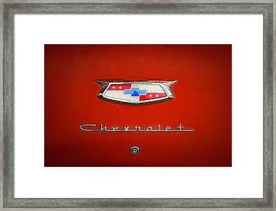 Framed Print featuring the photograph Red Chevy Bel-air Trunk by Marilyn Hunt