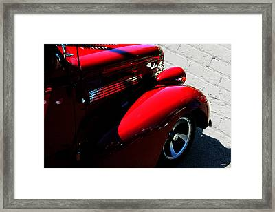 Red Chevy White Brick Framed Print by Lesa Fine