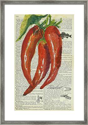 Red Chili Peppers Framed Print by Maria Hunt
